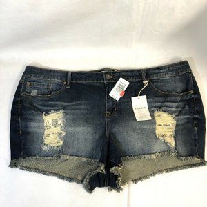 Torrid Denim Shorts Dark Wash Distressed Solid